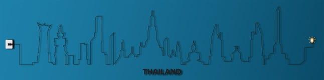 La Tailandia con l'incavo, elettricità, illustrazione Immagine Stock Libera da Diritti