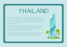 La Tailandia ha incorniciato l'insegna turistica di vettore con testo illustrazione di stock