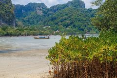 La Tailandia, Ko Lanta, spiaggia, barche, roccia, mare 2016 Fotografia Stock