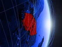 La Tanzania su terra digitale blu blu immagine stock