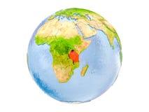La Tanzania sul globo isolato Immagine Stock Libera da Diritti