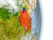 La Tanzanie en rouge sur terre illustration de vecteur