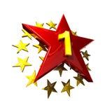 La tapa roja del ganador de la estrella traza el de oro foto de archivo