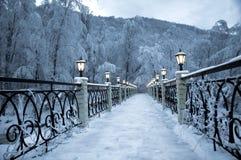 La tarde fina de la nieve en montañas Imágenes de archivo libres de regalías