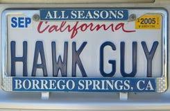 La targa di immatricolazione della California indica il ½ del ¿ di Hawk Guyï del ½ del ¿ del ï Fotografia Stock