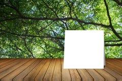 La tarjeta blanca puso el escritorio de madera o el piso de madera en fondo verde borroso de la naturaleza del árbol uso para el  Fotos de archivo