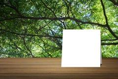 La tarjeta blanca puso el escritorio de madera o el piso de madera en fondo verde borroso de la naturaleza del árbol uso para el  Fotos de archivo libres de regalías