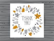La tarjeta botánica con le agradece mensaje Fotografía de archivo libre de regalías