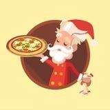 La tarjeta con el duende de la historieta para la Navidad y el Año Nuevo van de fiesta Fotos de archivo