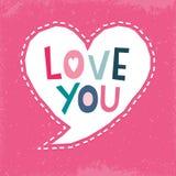La tarjeta de burbuja tipográfica linda del discurso le ama marina de guerra rosada ilustración del vector