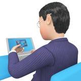 La tarjeta de crédito indica el World Wide Web y la representación comprada 3d Imagenes de archivo