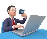 La tarjeta de crédito indica la representación del World Wide Web y del hombre de negocios 3d Fotografía de archivo