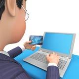 La tarjeta de crédito indica la representación del World Wide Web y del negocio 3d Foto de archivo