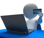 La tarjeta de crédito representa la representación del World Wide Web y del comprador 3d Imagenes de archivo