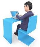 La tarjeta de crédito representa la representación del World Wide Web y del hombre de negocios 3d Imagenes de archivo