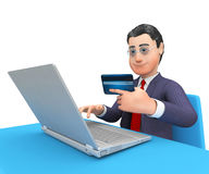 La tarjeta de crédito significa el World Wide Web y la representación comprada 3d Fotografía de archivo libre de regalías