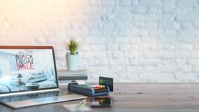 La tarjeta de crédito y la venta y la promoción del producto Imagen de archivo libre de regalías
