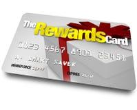 La tarjeta de crédito de las recompensas gana reembolsos y rebajas Imagen de archivo libre de regalías