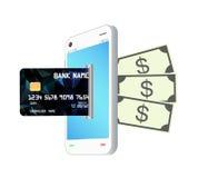La tarjeta de crédito transforma por smartphone al banco de la nota del dinero Imagen de archivo libre de regalías