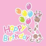 La tarjeta de cumpleaños con la jirafa linda trae los globos coloridos Imágenes de archivo libres de regalías