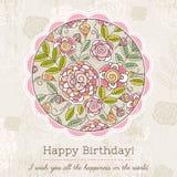 La tarjeta de cumpleaños con la ronda grande de la primavera florece, illustra del vector Fotos de archivo libres de regalías