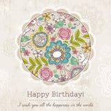 La tarjeta de cumpleaños con la ronda grande de la primavera florece, vector Foto de archivo libre de regalías