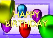 La tarjeta de cumpleaños con los globos y cumpleaños del oro manda un SMS stock de ilustración