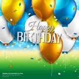 La tarjeta de cumpleaños con los globos y el cumpleaños mandan un SMS encendido Imagen de archivo libre de regalías