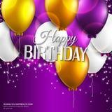 La tarjeta de cumpleaños con los globos y el cumpleaños mandan un SMS encendido Imágenes de archivo libres de regalías