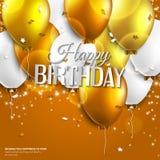 La tarjeta de cumpleaños con los globos y el cumpleaños mandan un SMS encendido Imagenes de archivo