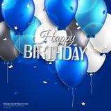 La tarjeta de cumpleaños con los globos y el cumpleaños mandan un SMS encendido Imagen de archivo
