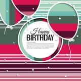 La tarjeta de cumpleaños con los globos y el cumpleaños mandan un SMS encendido Foto de archivo libre de regalías