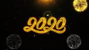la tarjeta de 2020 del Año Nuevo felicitaciones de los deseos, invitación, fuego artificial de la celebración colocó ilustración del vector
