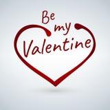 La tarjeta de la tarjeta del día de San Valentín s con la muestra del corazón y sea mi frase de la tarjeta del día de San Valentí ilustración del vector