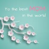 La tarjeta de felicitación adornó ramas de las flores de la cereza en el fondo verde para el día del ` s de la madre o el día del Fotografía de archivo