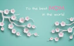 La tarjeta de felicitación adornó ramas de las flores de la cereza en el fondo verde para el día del ` s de la madre o el día de  Imagen de archivo