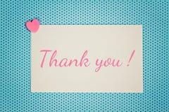La tarjeta de felicitación azul le agradece Imágenes de archivo libres de regalías