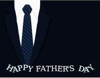 La tarjeta de felicitación caligráfica de la bandera del día de padres con la camisa blanca gris clara del lazo azul marino y la  Fotos de archivo libres de regalías