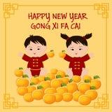 La tarjeta de felicitación china del Año Nuevo con los niños chinos manda un SMS a la Feliz Año Nuevo, Cong Xi Fa Cai Fotografía de archivo libre de regalías