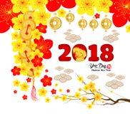 La tarjeta de felicitación china del Año Nuevo 2018, papel cortó con el jeroglífico del perro amarillo y de Sakura Flowers Backgr Foto de archivo libre de regalías