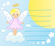 La tarjeta de felicitación con ángel Foto de archivo libre de regalías