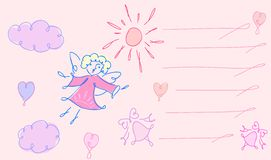 La tarjeta de felicitación con ángel stock de ilustración