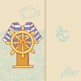 La tarjeta de felicitación con el vestido y volante adentro estilo del garabato Fotografía de archivo libre de regalías