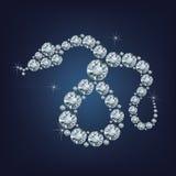 La tarjeta de felicitación creativa de la Feliz Año Nuevo 2025 con la serpiente compuso muchos diamantes Imagen de archivo