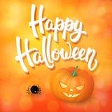 La tarjeta de felicitación de Halloween con la calabaza, la araña enojada y 3d cepillan las letras en fondo anaranjado con los el Fotografía de archivo libre de regalías