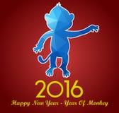 La tarjeta 2016 de felicitación de la Feliz Año Nuevo estilizó el modelo poligonal del triángulo Foto de archivo libre de regalías