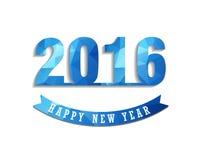 La tarjeta 2016 de felicitación de la Feliz Año Nuevo estilizó el modelo poligonal del triángulo Foto de archivo