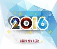La tarjeta 2016 de felicitación de la Feliz Año Nuevo estilizó el modelo poligonal del triángulo Imagen de archivo