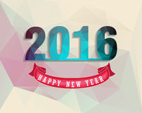 La tarjeta 2016 de felicitación de la Feliz Año Nuevo estilizó el modelo poligonal del triángulo Fotografía de archivo libre de regalías