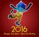 La tarjeta 2016 de felicitación de la Feliz Año Nuevo estilizó el modelo poligonal del triángulo Fotos de archivo